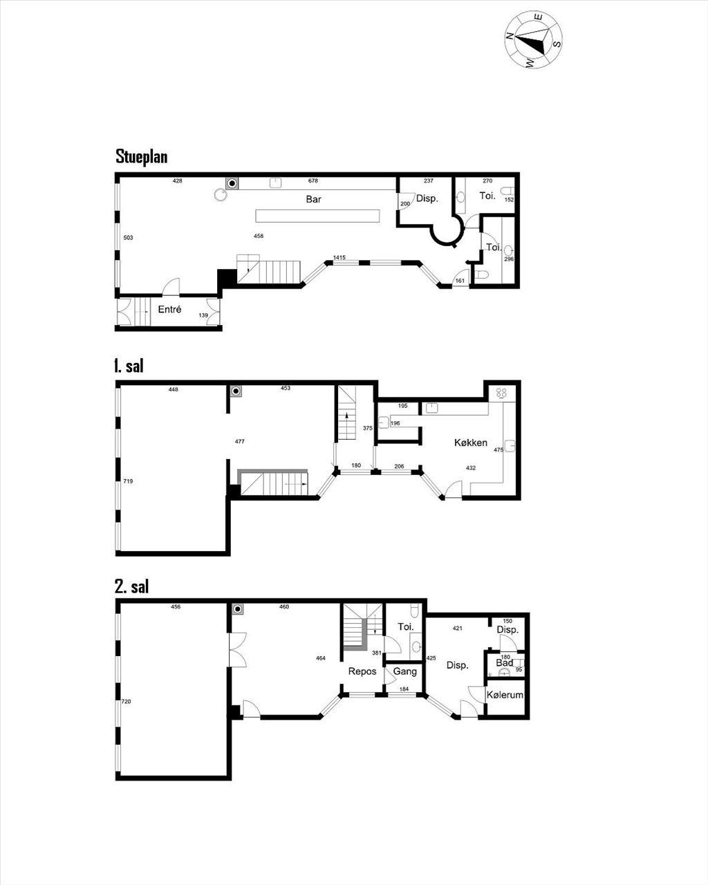 Plantegning - Kultorvet 5, st., 1. & 2. sal