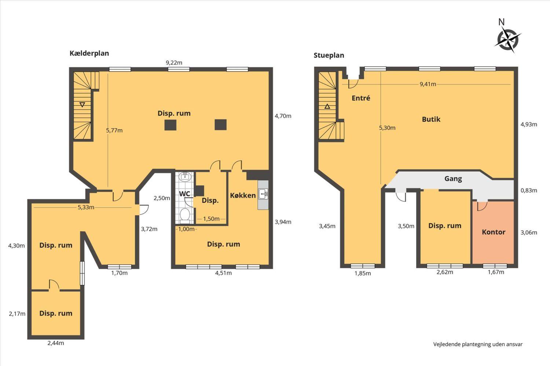 Plantegning - Vendersgade 5, stue & kælder