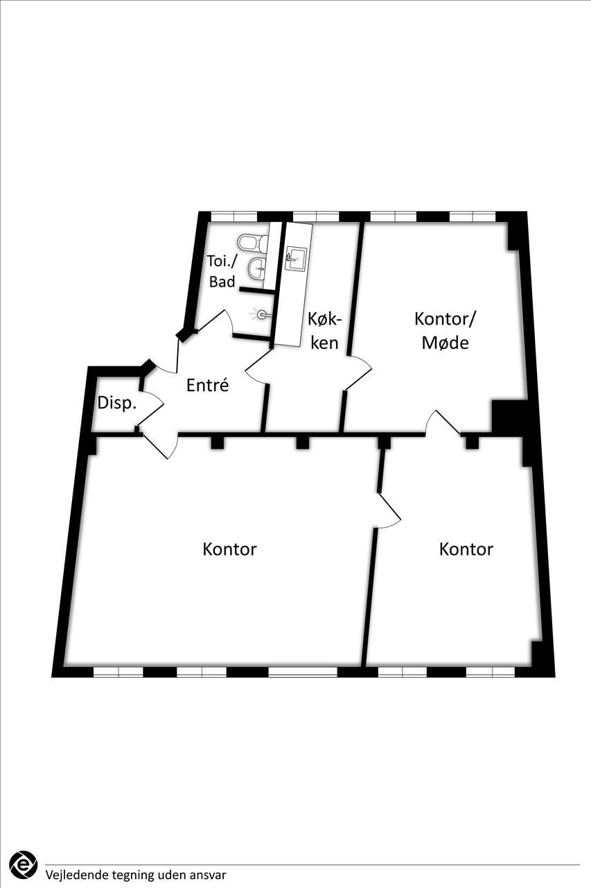 Plantegning - Kompagnistræde 16, 2. sal